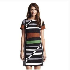 Black Brown Green Designation Striped Sheath Dress
